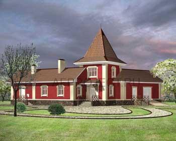Проект углового одноэтажного дома с гаражом G-153