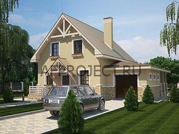 Простой проект дома с мансардой, гаражом, террасой  размеры 9х10м