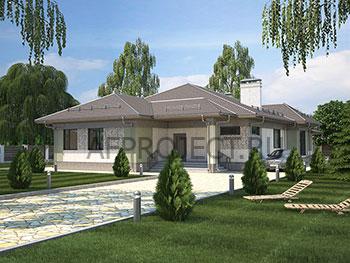 Проект одноэтажного дома до 200 кв.м. с большой террасой