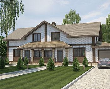 Современный проект дома на две семьи с гаражом проект таунхауса на два хозяина.