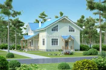 Проекты двухэтажных домов из бруса D-201