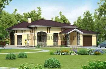 Проект одноэтажного жилого дома с гаражом G-210