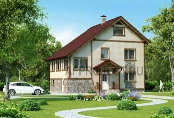 Проект простого дома с 2-скатной кровлей и  мастерской  пл. 175 кв.м.