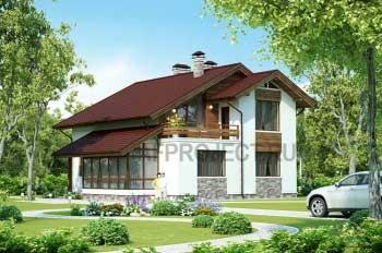 Проекты домов с террасой, коттеджей с террасой  G-217