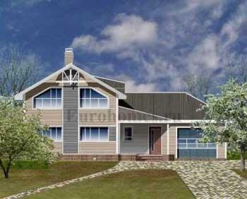Двухэтажный дом с гаражом - проект G-170
