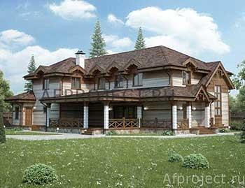 Проект дома из бруса с бассейном и сауной 350 кв. м-D-354