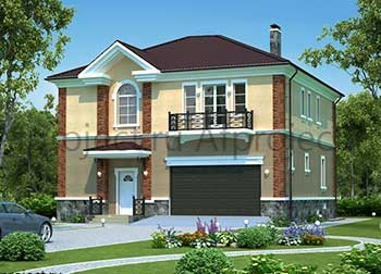 Квадратный проект дома из газобетона с 2 гаражами размером 12х12