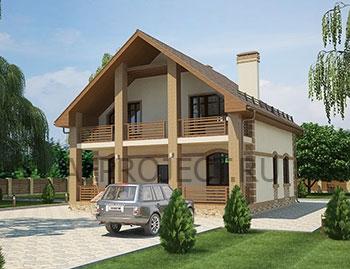 Популярный готовый проект  загородного дома 10х12 с террасой и мансардой.